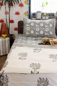 Hand block print bedding set with double bed dohar